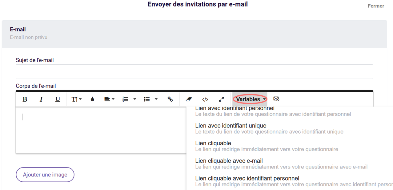 Parametres d'URL - variables dans invitations d'e-mail