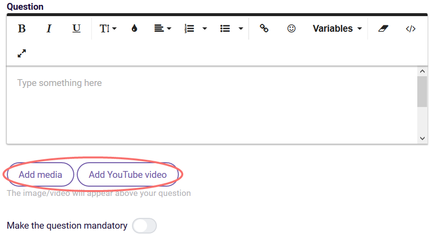 Add media or video - buttons