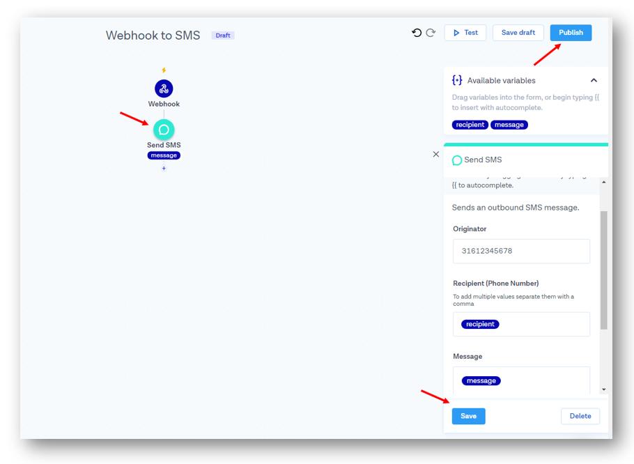 Connect Quriobot to Messagebird (for sending Text messages