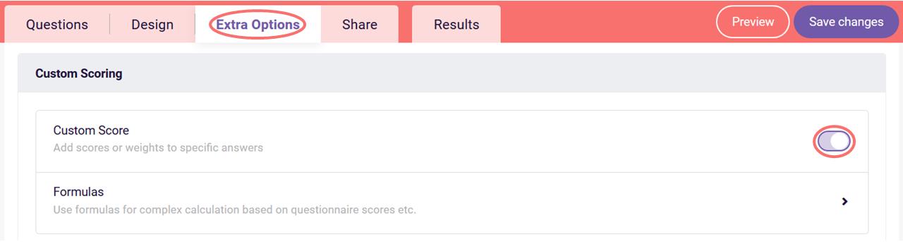 Formula ranking table - turn on custom score
