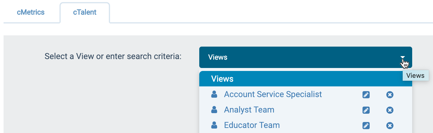 "Click the down-arrow at the right of the ""Views"" field and select a previously saved team view"