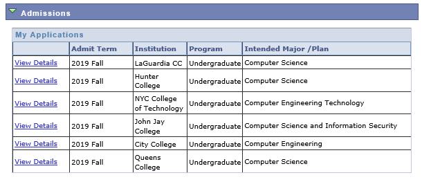 cuny applications status