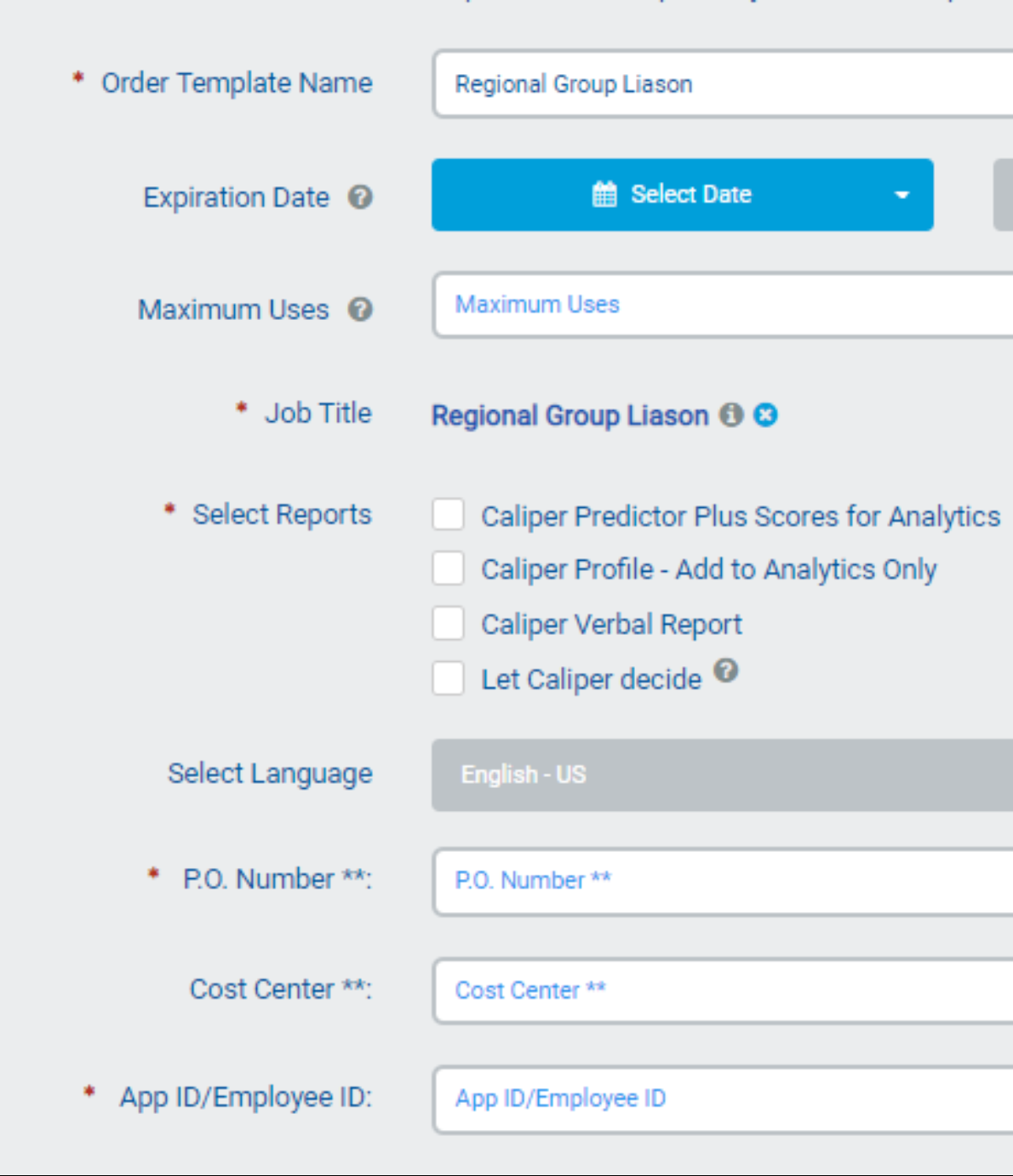 Added Required fields