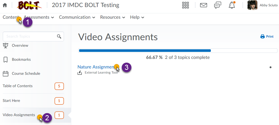 screenshot with cursor over Content, module name, and assignment link indicating to click these in sequence