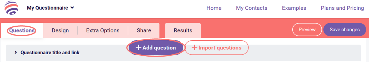 Open ended question - add question button