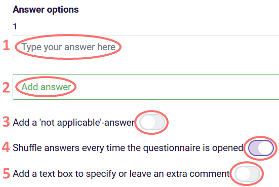 Ranking answer options