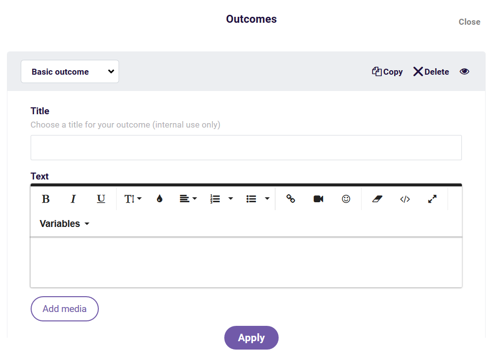 set up outcome screen