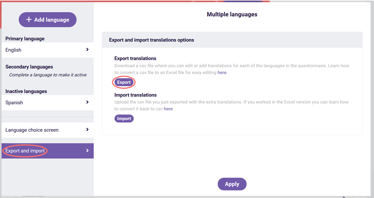 multiple languages export translation