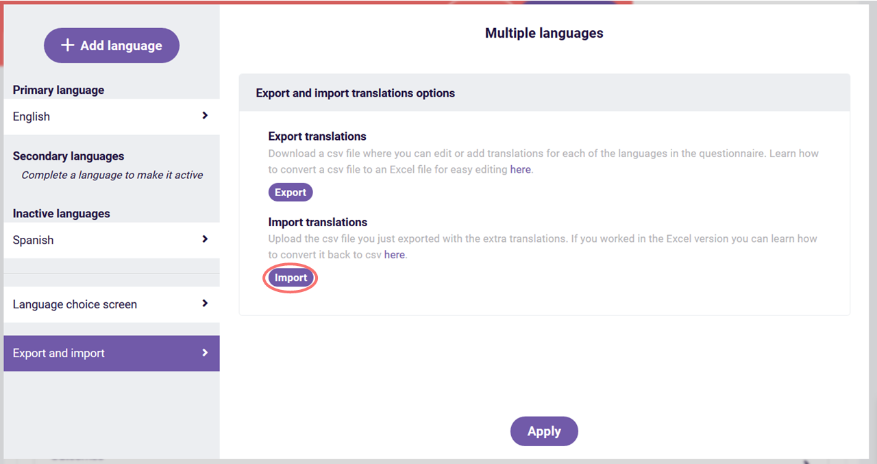 multiple languages import translations