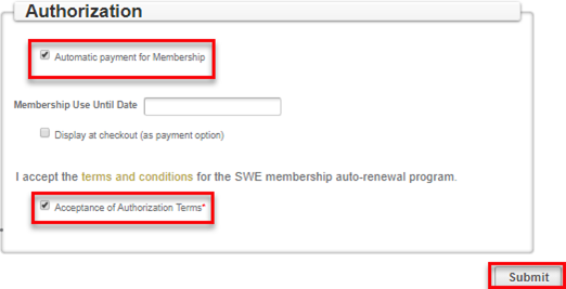 Signup for Membership Auto-Renewal - Payment Options : Society of