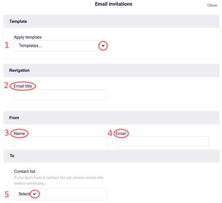 Email invitation - input sender info