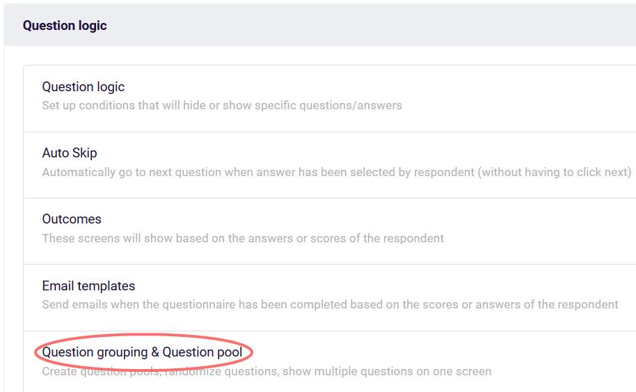 randomize - question grouping
