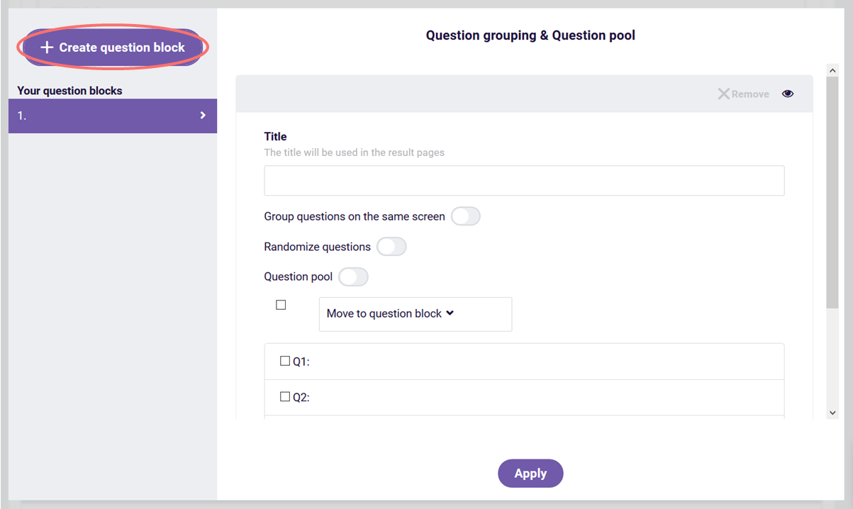 question grouping - create question block
