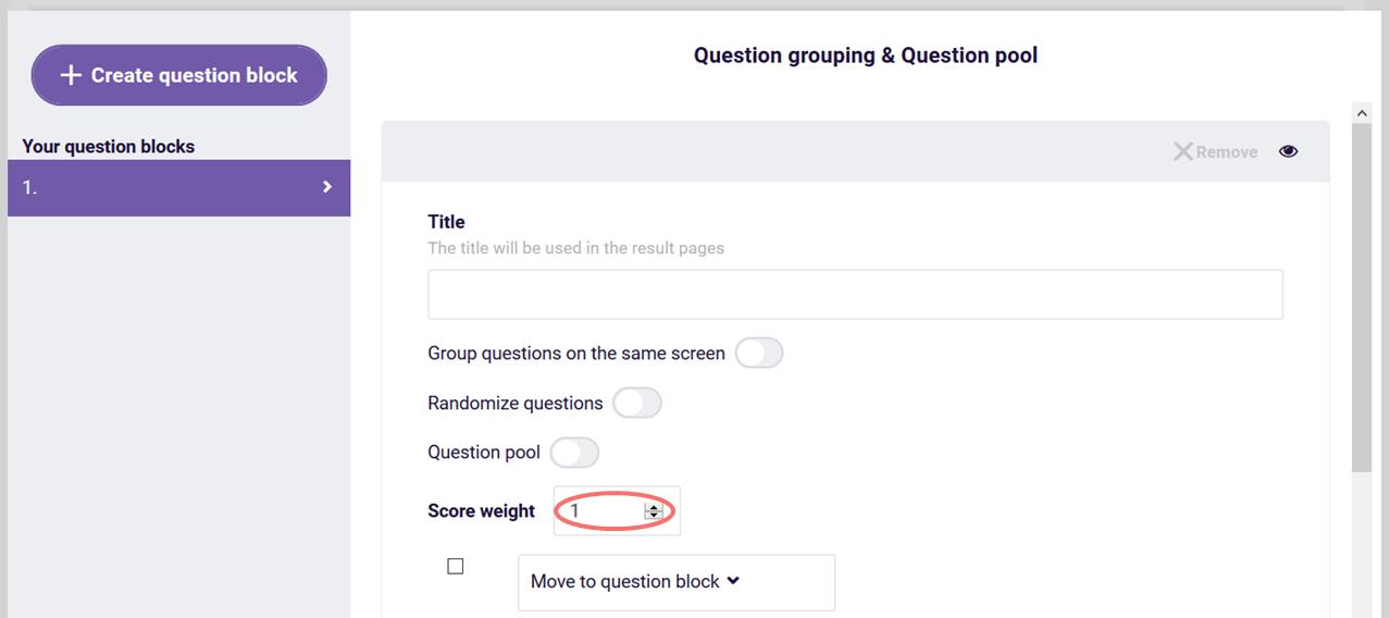 Custom score - question group score weight