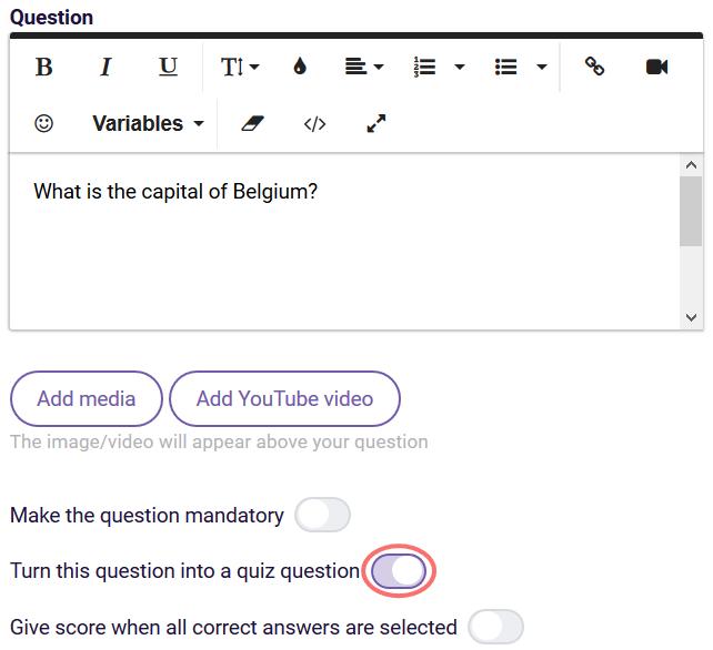 quiz scoring single answer example