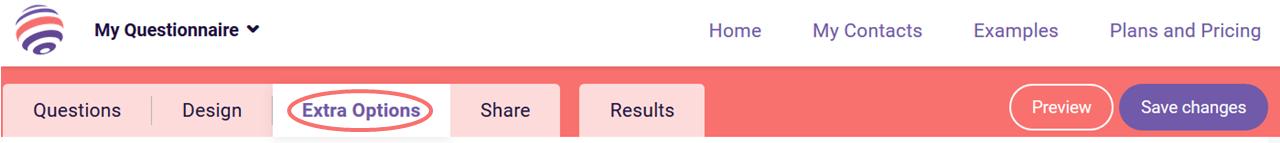 Offline survey tool extra options tab