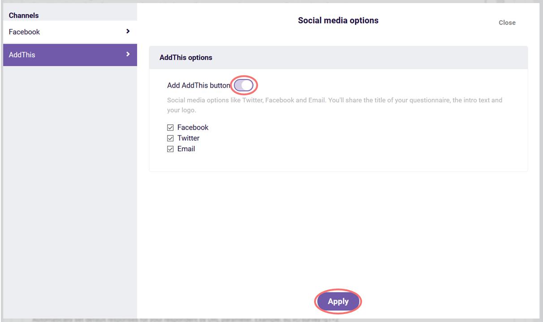 AddThis social media options