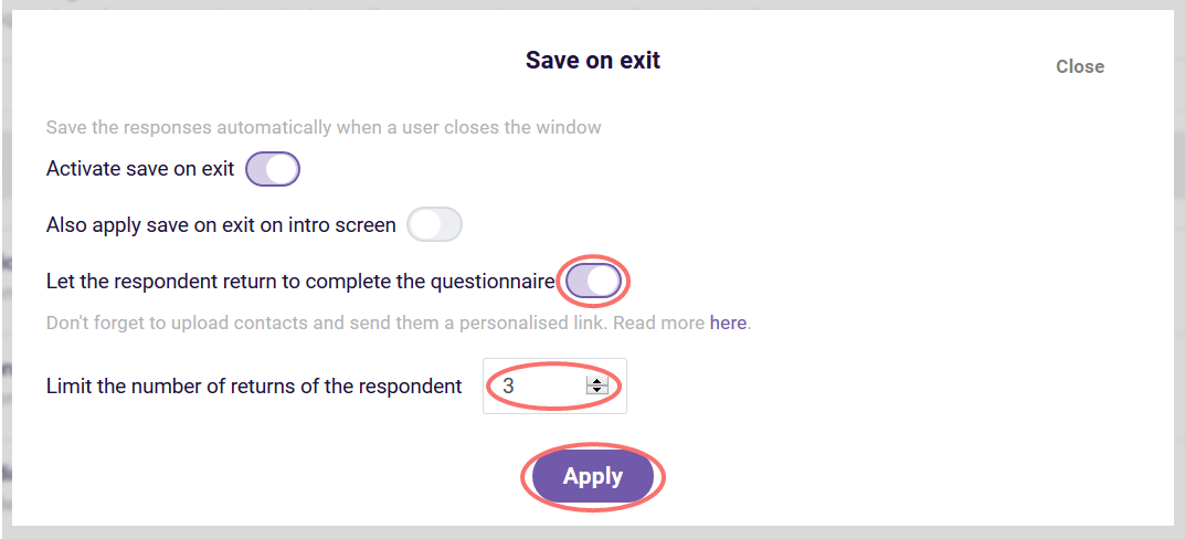 Save on exit - allow respondent to return