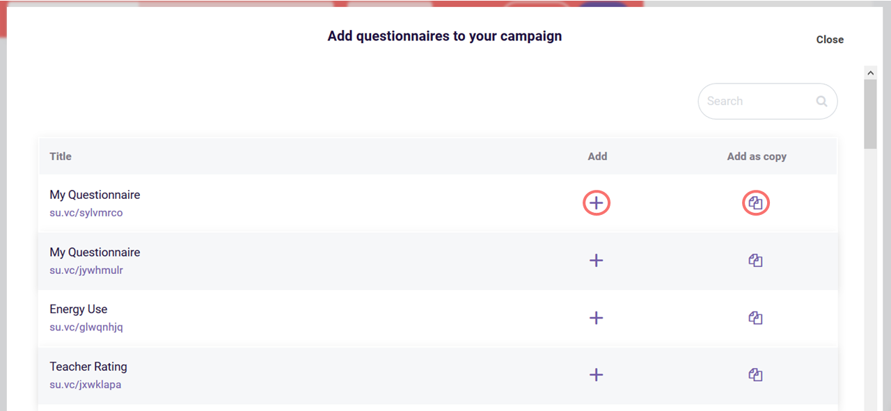 create campaign - add questionnaires