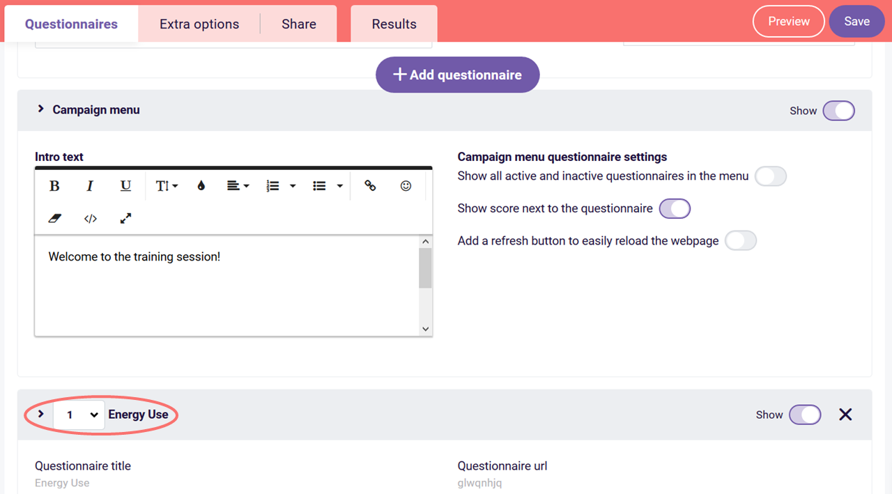 create campaign - added questionnaires