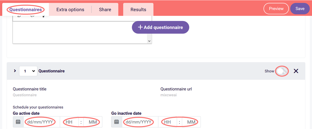 Questionnaire scheduler - schedule active and inactive dates