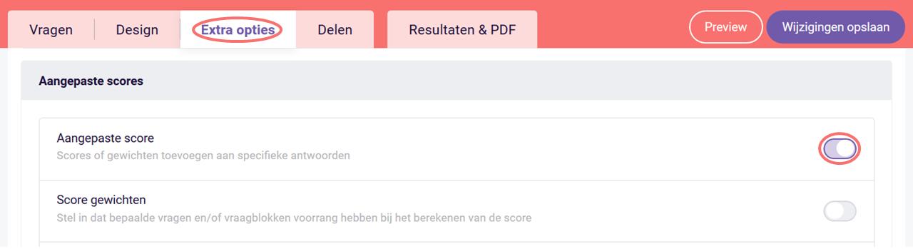 Vraagblok Aangepaste Score Klassementstabel - aangepaste scores