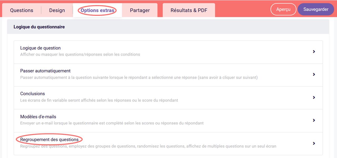 Tableau de classement personnalisé des blocs de questions - regroupement des questions