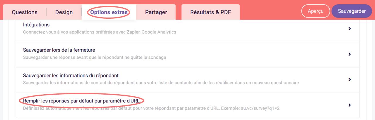 Choisir remplir les réponses par défaut par parametre d'URL