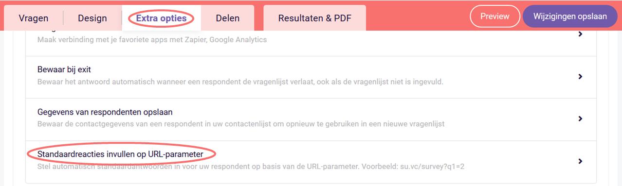 Standaardreacties invullen op URL-parameter - extra opties