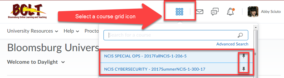 select a course grid icon in a clicked state with pinned courses highlighted on the BOLT My Home page