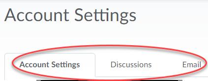 Personal account settings tab