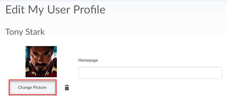 Edit my user profile page with the Change Picture button highlighted