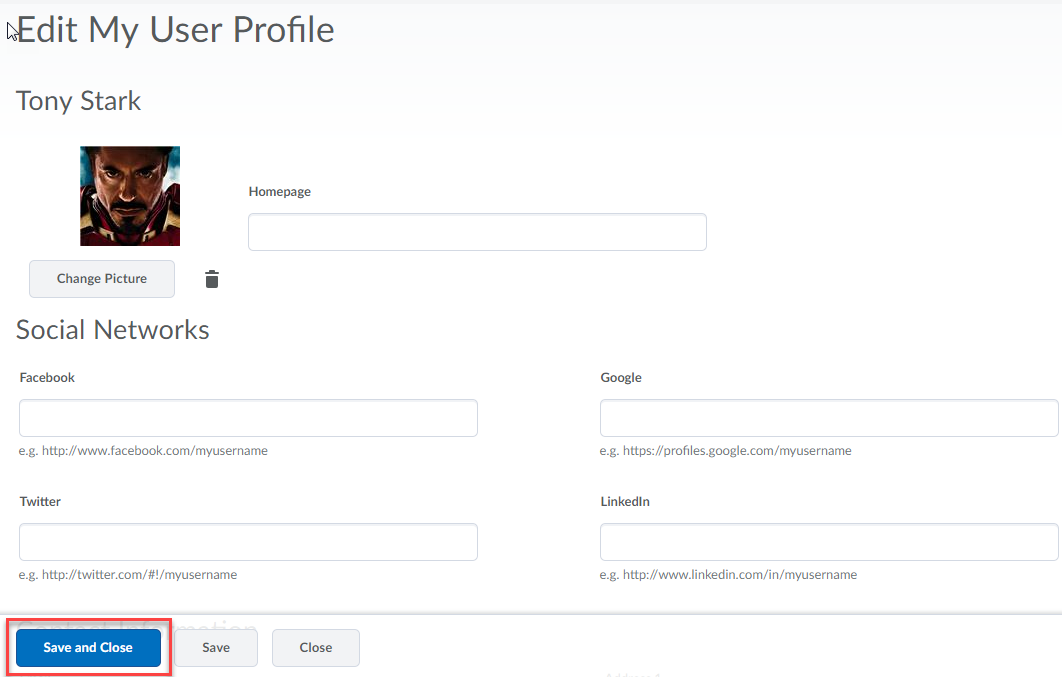 Edit my user profile page with chosen picture displayed and Save and Close button highlighted.