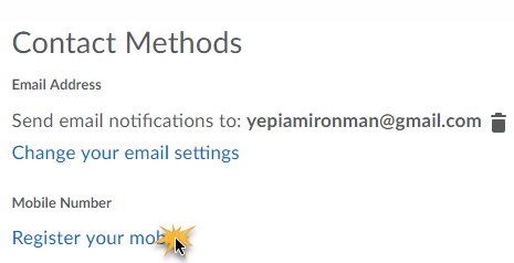 Contact Methods with options to change your email setting or register yoru mobile, selected.