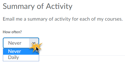 Summary of Activity with frequency options of Never or Daily.