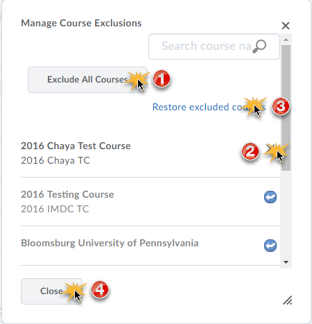 Manage Course Exclusion overview