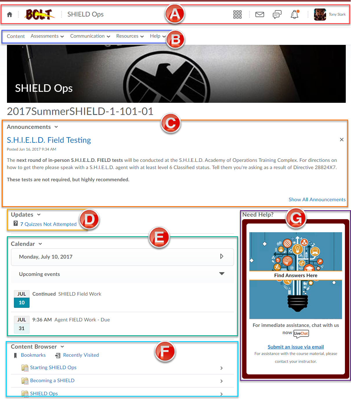 Course home page with 7 key areas defined with labels A through F in the followign order, Mini-bar, Nav bar, Announcments, Updates, Calendar, & Content Browser.