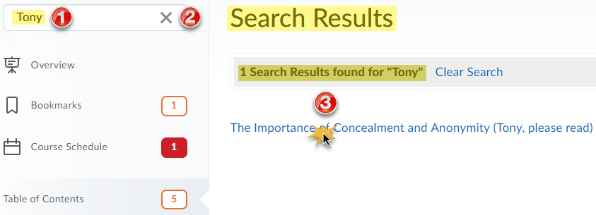 Course Content with search field in left navigation panel and search results populated in the content view panel.