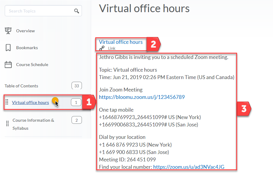 Content area with Virtrual office hours highlighted and displayed is a link to a Zoom meeting.