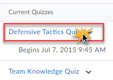 List of quizzes with Defensive Tactics Quiz link clicked on.