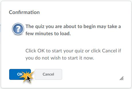 Quiz start confirmation screen.