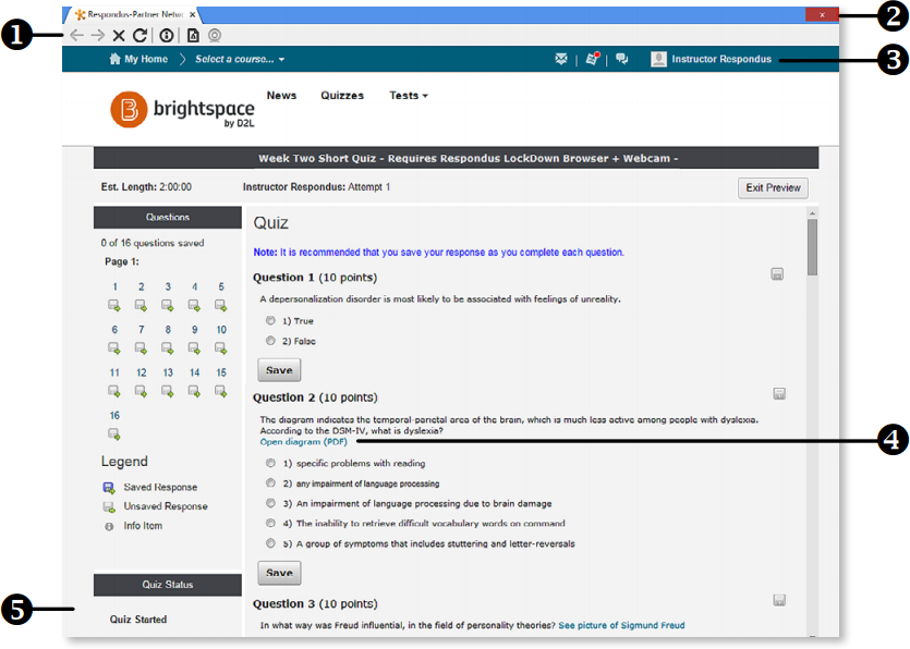 Respondus LockDown browser interface highlighting the following in order 1, modified toolbar, 2, assessment mode, 3, disable controls, 4, links, and 5, blocked features and apps.