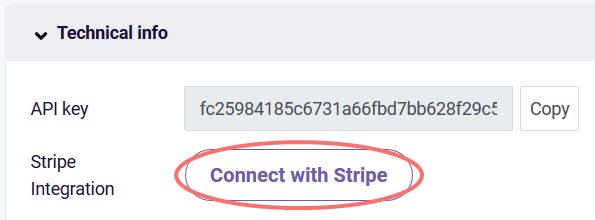 Stripe integration button