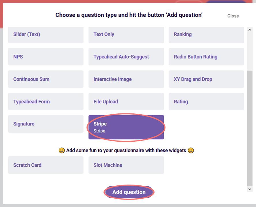 Add stripe question type