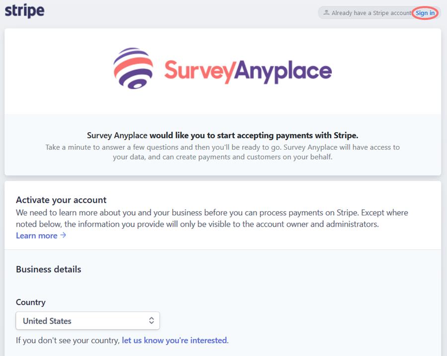 Authorise Survey Anyplace on Stripe