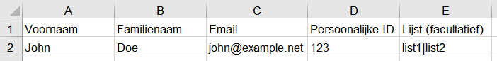 Contacts - Excel file