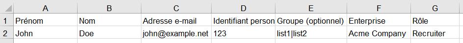 Contacts - colonnes supplémentaires