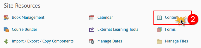 cursor over the Content option on the Course Admin page