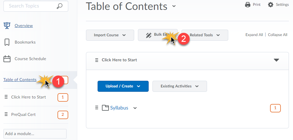 cursor over Table of Contents and then Bulk Edit to indicate clicks