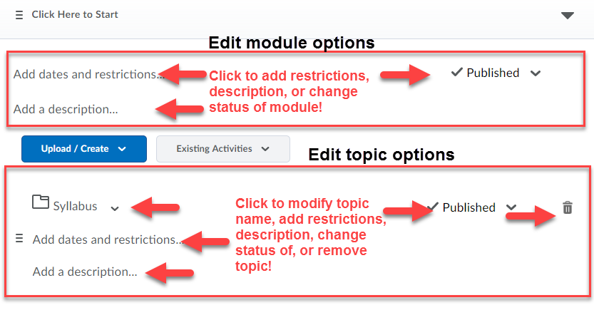 arrows pointing at the add dates and restrictions, add  description, and published status fields which can be clicked to be edited in Bulk Edit